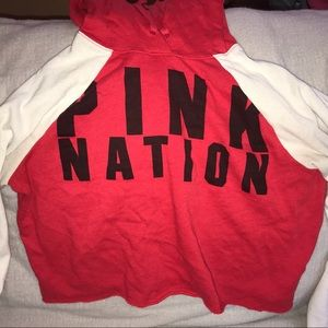 Red and White VS Pink Cropped Hoodie